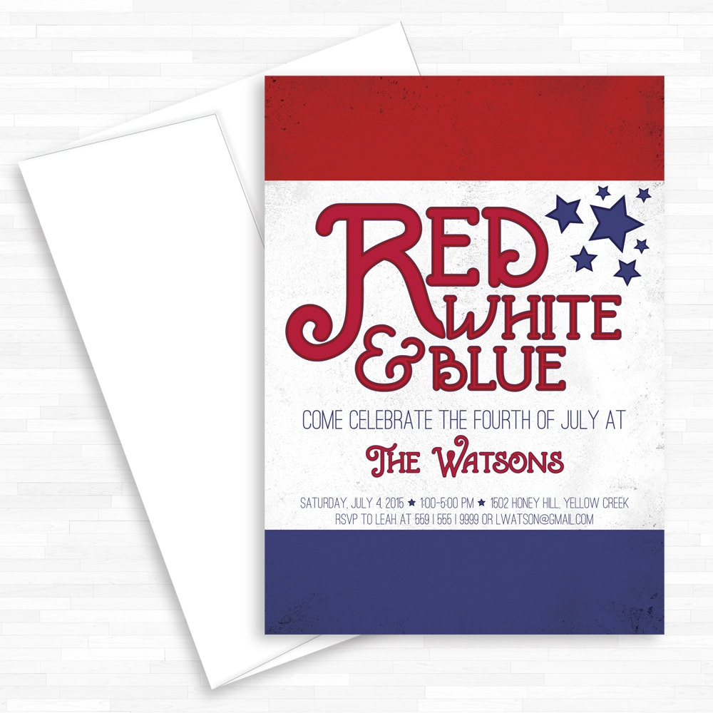 Memorial Day Invite Red White Blue 4th of July Invite BBQ   Etsy