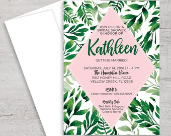 Tropical Bridal Shower Invitation, Flora, Palm Trees, Hawaiian Party, Summer Bridal Shower, Bridal Shower Invite, Printable