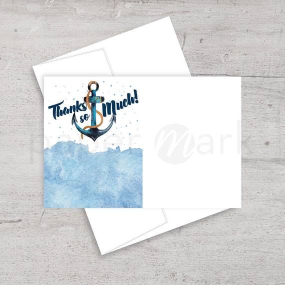 Nautical Baby Shower Thank You Card Thank You Note Anchor Etsy