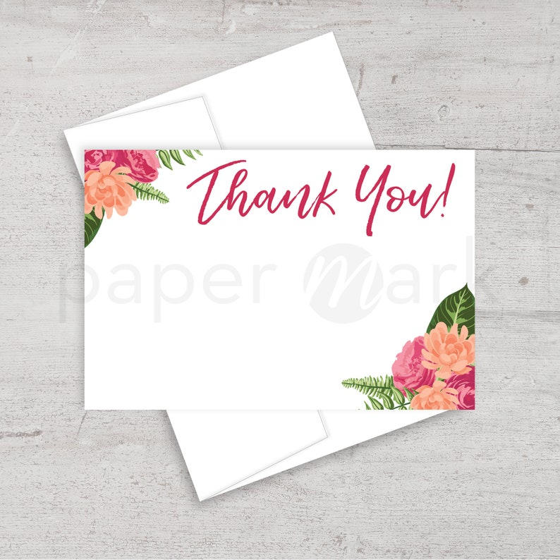 Floral Card Bridal Shower Thank You Watercolor Flowers Floral Thank You Note Wedding Thank You Thank You Card Printable