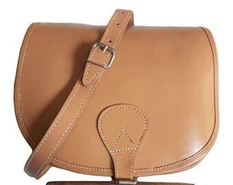 Véritable cuir de vachette brun Tan Vintage du tabac fait main sacoche avec Buxton Rabat rétro bandoulière besace organisateur porte-monnaie