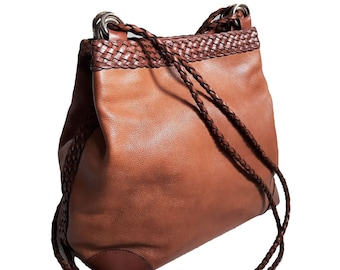 0b6be9d1baa1 Unique vintage L.J.S. whiskey brown Genuine Leather woven braided  Drawstring Bucket bag Crossbody purse rare retro hipster gypsy cowboy