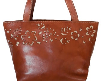 339cd5396b33 Unique vintage handmade Genuine cognac Leather Cowhide demi BUCKET Cutout  Tooled floral retro whiskey Saddle Tan Brown Cowboy Western tote