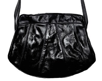 da4c73423e Unique vintage Genuine glossy black Cowhide Leather purse PANACHE by  Brixton Vancouver Canada rare retro Hobo handmade biker moto hipster