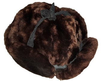 28d48d5482f6a Handmade in Canada quilted lining Ear Flap Mahogany Brown shaved beaver or  fox FAUX FUR unisex aviator Russian Ambassador Bomber cap hat