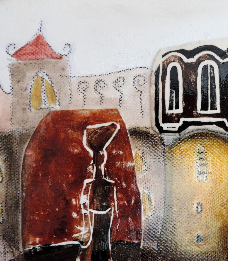 Happy city collage art old houses cityscape painting mixed image 0