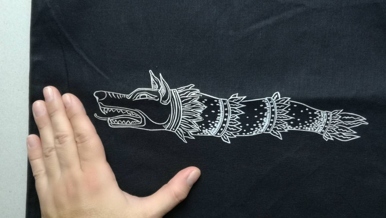 warrior wolf dragon ancient history symbol Romanian ancestors black cotton grey serigraphy Dacian Draco war standard Canvas tote bag
