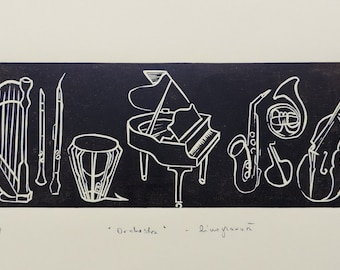 Gift for music lovers & musicians, classical chamber music, orchestra linocut, musical instruments, piano harp drum, art print, wedding gift