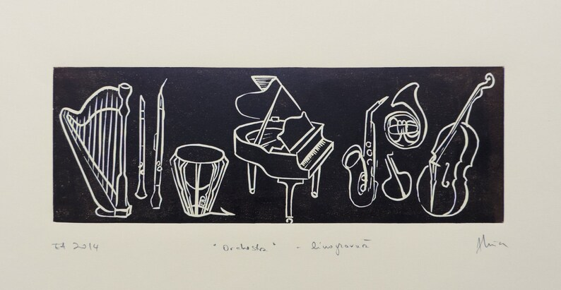 Orchestra linoleum print long linocut music lover gift image 0