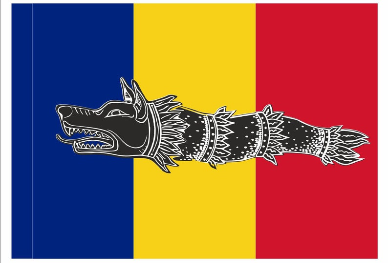 64f19f426 Romanian national flag ancient Dacian wolf standard Draco | Etsy