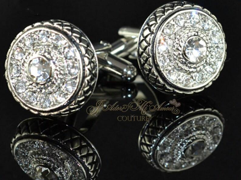 ef7a40cc75c KINGSLEY Diamond Simulated Silver Wedding Cufflinks Grooms | Etsy