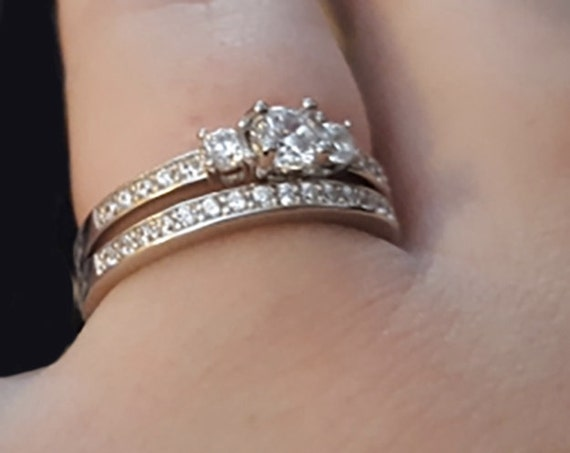 Dainty 25 Carat 2 Piece Engagement Ring Set Man Made Diamond Etsy