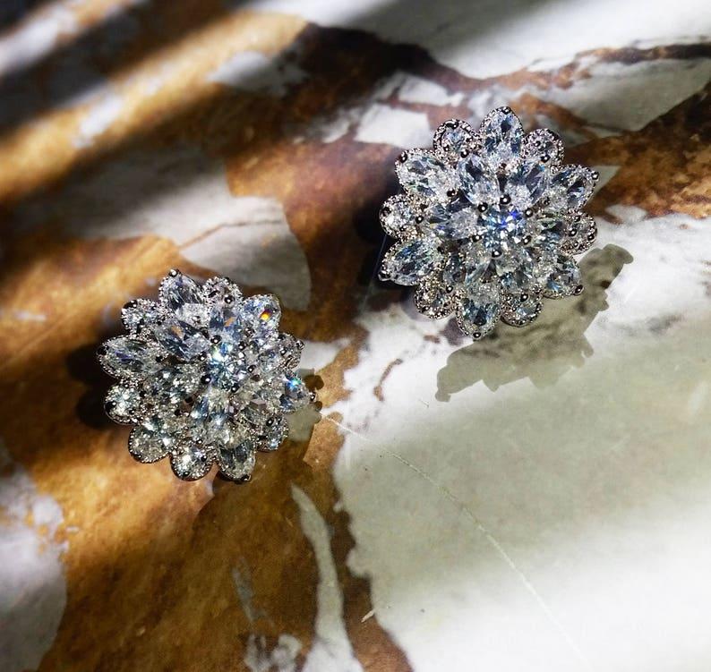 FLOURISHING EMPRESS Simulated Diamond Bridal Earrings Vintage Earrings Art Deco Crystal Wedding Stud Earrings Luxury Bridal Earrings