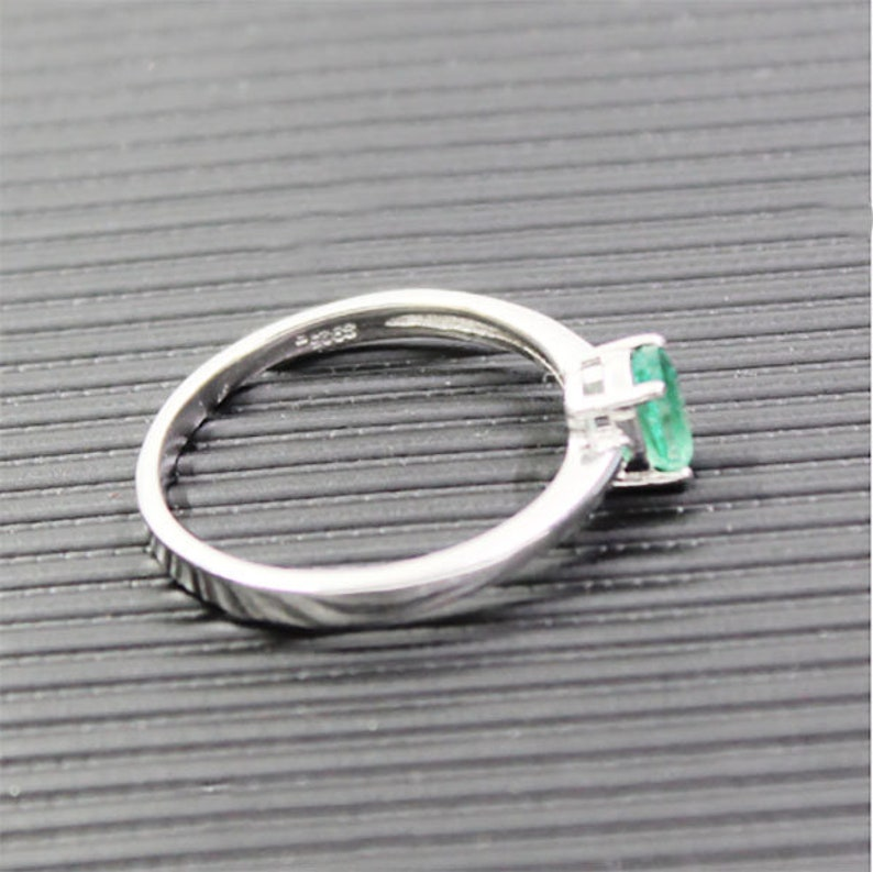 Sterling Silver Wedding Engagement Ring Anniversary Ring Wedding 0.38ct Natural Oval Emerald Engagement Ring Bridal Ring COLOR MY LIFE