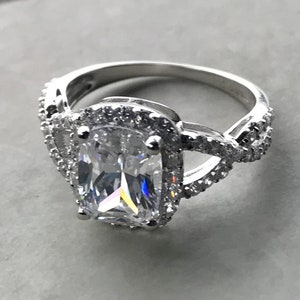 Promise Ring Wedding Ring Set MY ONLY ONE Simulated Diamond Ring Sterling Silver .65 carat Engagement Ring Set Man Made Bridal Rings
