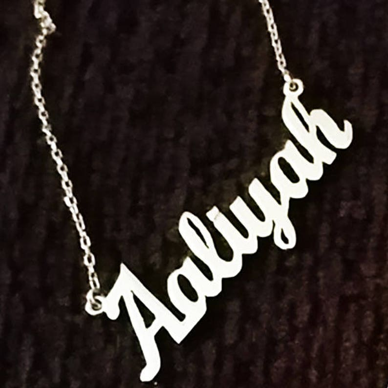 Personalized 18K Gold Plated Sterling Silver Name Plate Necklace Brush MT Font