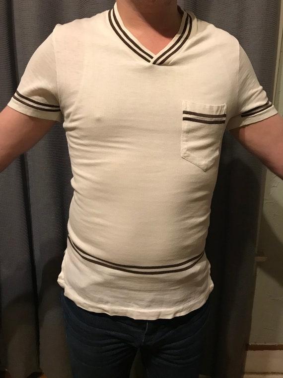 RARE 50s Men's Casual V-Neck Shirt by Jantzen/ Vi… - image 2