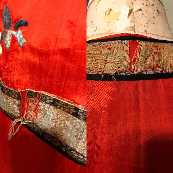 20s Red Pongee Silk Chinese Export Beach Pajamas … - image 10