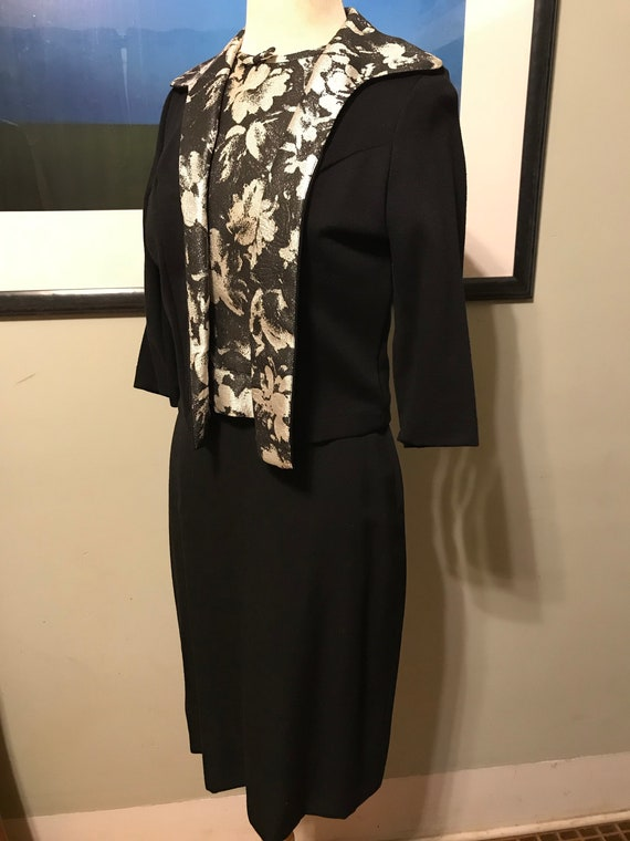 3-Piece 60s Black and Silver Knit Cocktail Suit/Dr