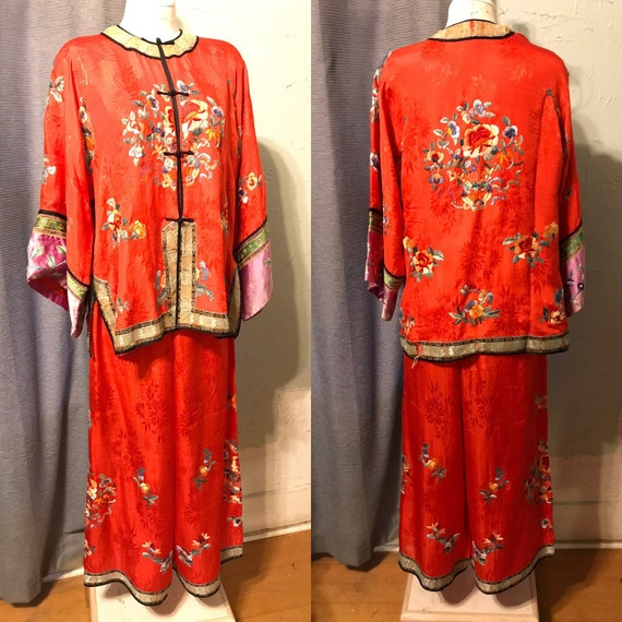 20s Red Pongee Silk Chinese Export Beach Pajamas w