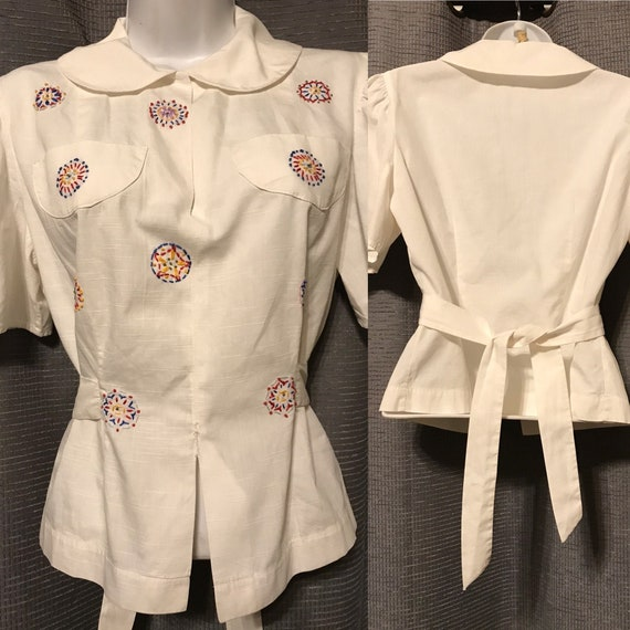 30s Puff Sleeve White Cotton Tie-Back Blouse with