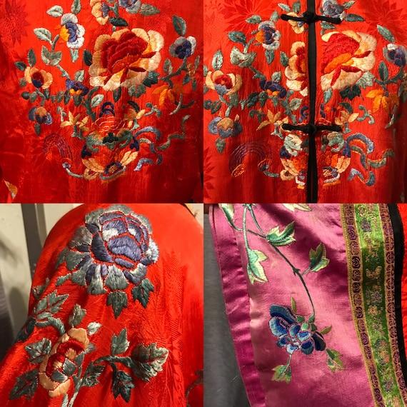20s Red Pongee Silk Chinese Export Beach Pajamas … - image 3