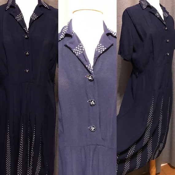 VOLUP Navy 40s Rayon Dress with Peek-a-boo Polka D
