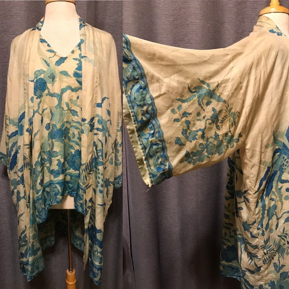 1920s PONGEE SILK Robe and Top 2-Piece Set/ 20s Ma