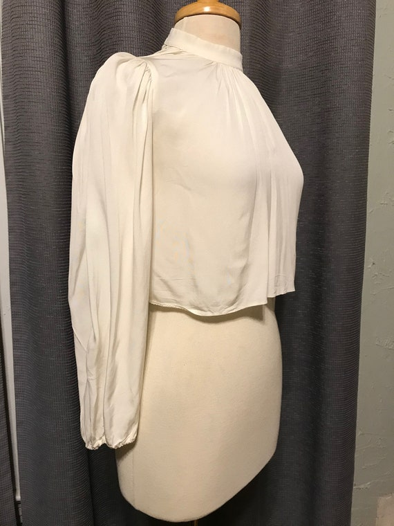 Gorgeous 30s - 40s Ivory Rayon Crepe Cropped Blous