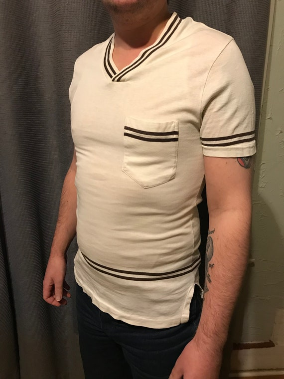 RARE 50s Men's Casual V-Neck Shirt by Jantzen/ Vi… - image 3