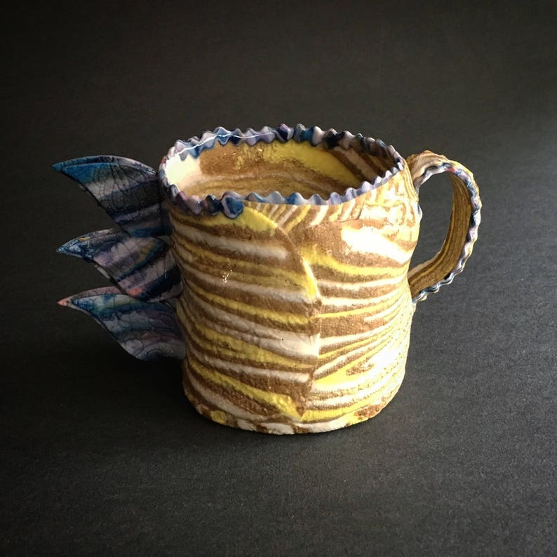 Winged Cup Multicolored Blue Purple Yellow Turquoise Chocolate Coffee Mug Handmade Anyique Lace Texture Angel Wings