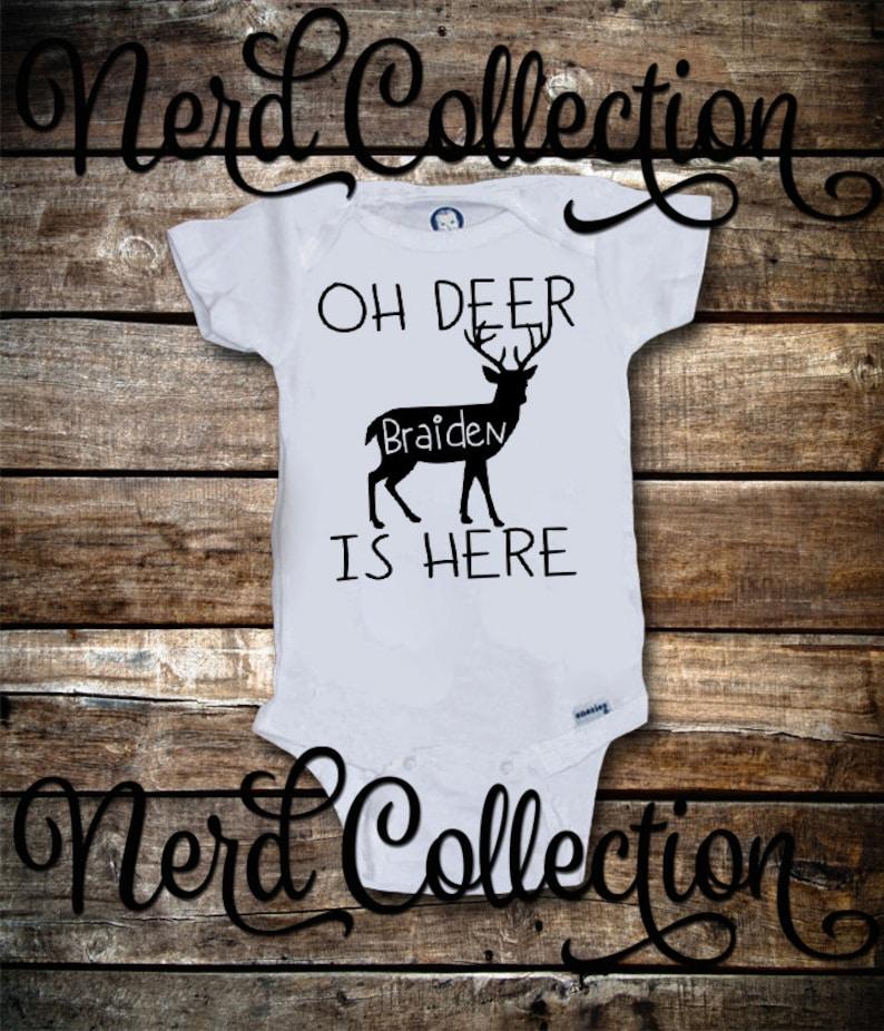 17b1cdba9c09 Baby Onesie Oh Deer New Baby Is Here Personalized Custom Name