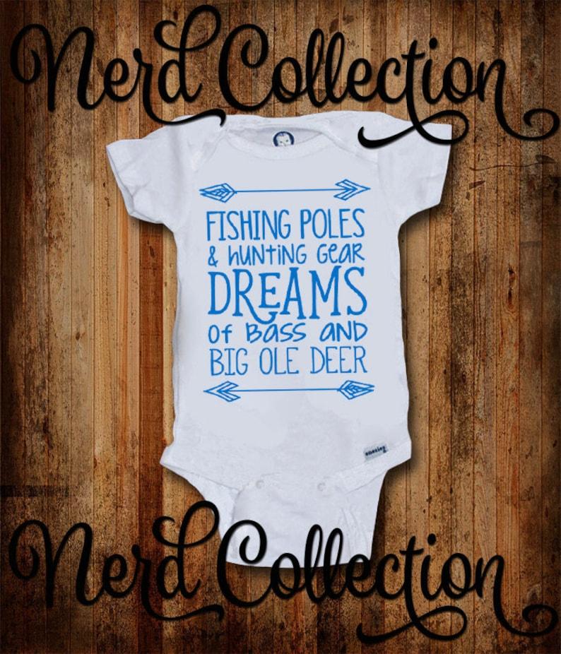 ca6e7562 Baby Onesie Fishing Poles Hunting Gear Dreams of Bass Big Ole | Etsy