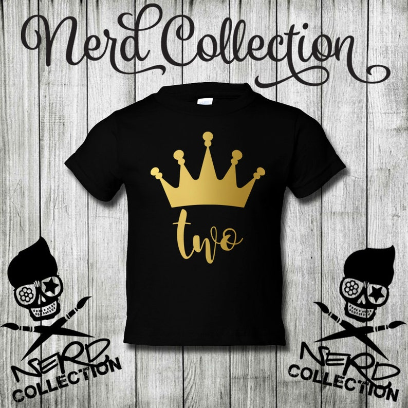 2nd Birthday Shirt Two Crown Party Gold Silver Second