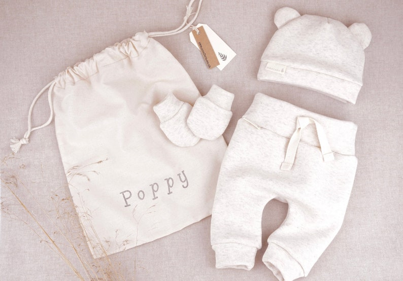 8da57ec9799 Baby Clothes Personalised Baby Gift Set Natural Marl Thick