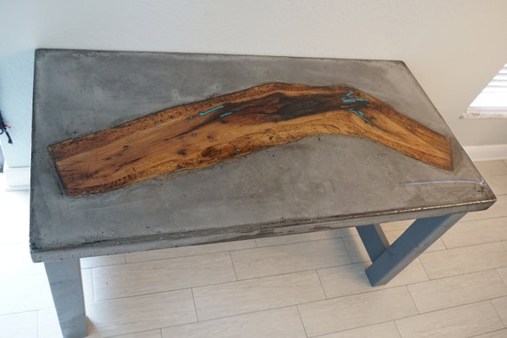 Excellent Handmade Modern Concrete Wood Inlay Table Spiritservingveterans Wood Chair Design Ideas Spiritservingveteransorg