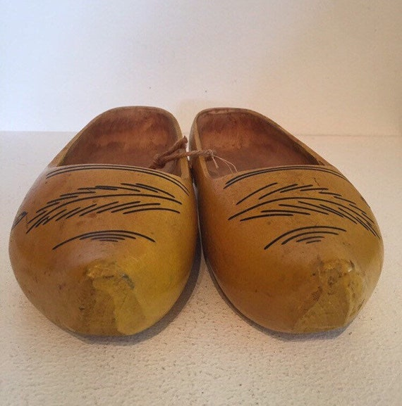 Yellow Vintage Wooden Clogs
