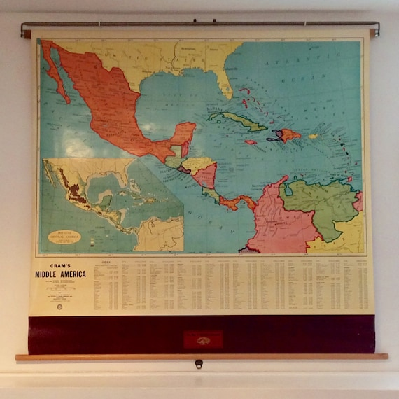 Vintage Classroom Map - Central America - Middle America