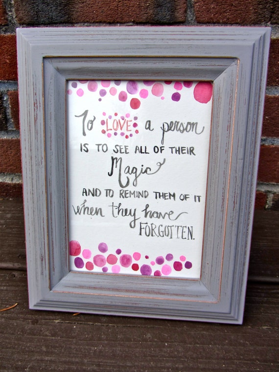 Watercolor Quote Art Birthday Gift Love Is Magic Etsy
