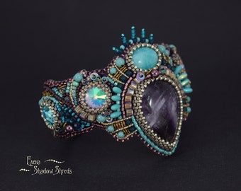 """Bracelet """"Siren"""". Cuff Bead Embroidery Bracelet Beadwork Bracelet Bead Embroidered Jewelry"""