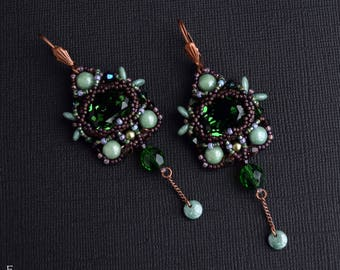 "Bead weaving earrings ""Old wood spirits"" Long Earrings Beadwork Earrings Seed Bead Jewelry Unusual Earrings Swarovski crystals Green Copper"