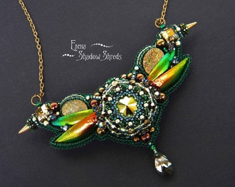 """Necklace """"Flying over the water pond of the evening"""" Embroidered jewelry Beadwork necklace Beaded jewelry Green Beetle elytra Beetle wing"""