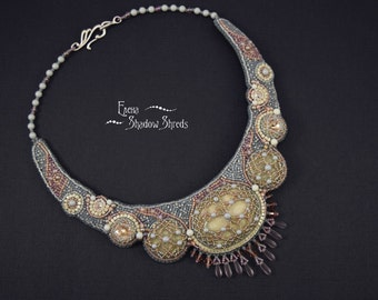 """Necklace """"Venetian morning"""" Beaded necklace Beaded jewelry Beadwork necklace Collier Embroidery jewelry Gray Beige For women"""