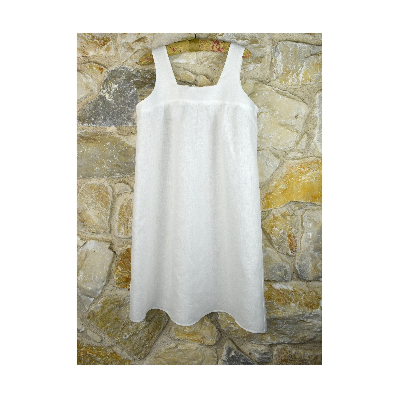 Linen Square Neck Dress  Summer Dress  Shirring Front  Elastic Band Back Neck  A Line