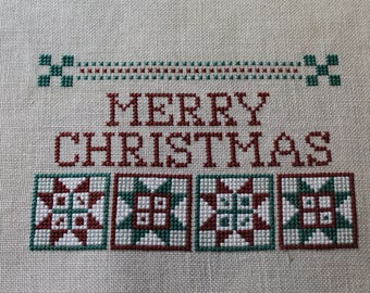 Star Blocks & Merry Christmas Finished Completed Cross Stitch  - Design from The Need'l Love Company