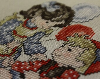 Girl and Boy with Balloons Finished Cross Stitched Piece by Stoney Creek Collection
