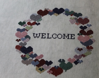 Wreath of Hearts Finished Completed Cross Stitch  - Design from The Need'l Love Company