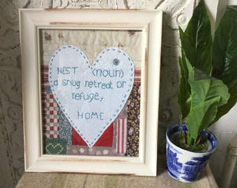 patchwork picture, Home embroidered picture, French linen and patchwork picture