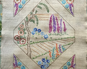 Embroidered panel, embroidery on linen, hand embroidered panel, vintage embroidery