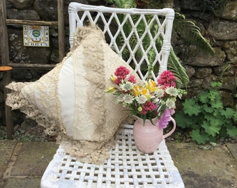 Satin and lace cushion, cream satin and lace boudoir pillow
